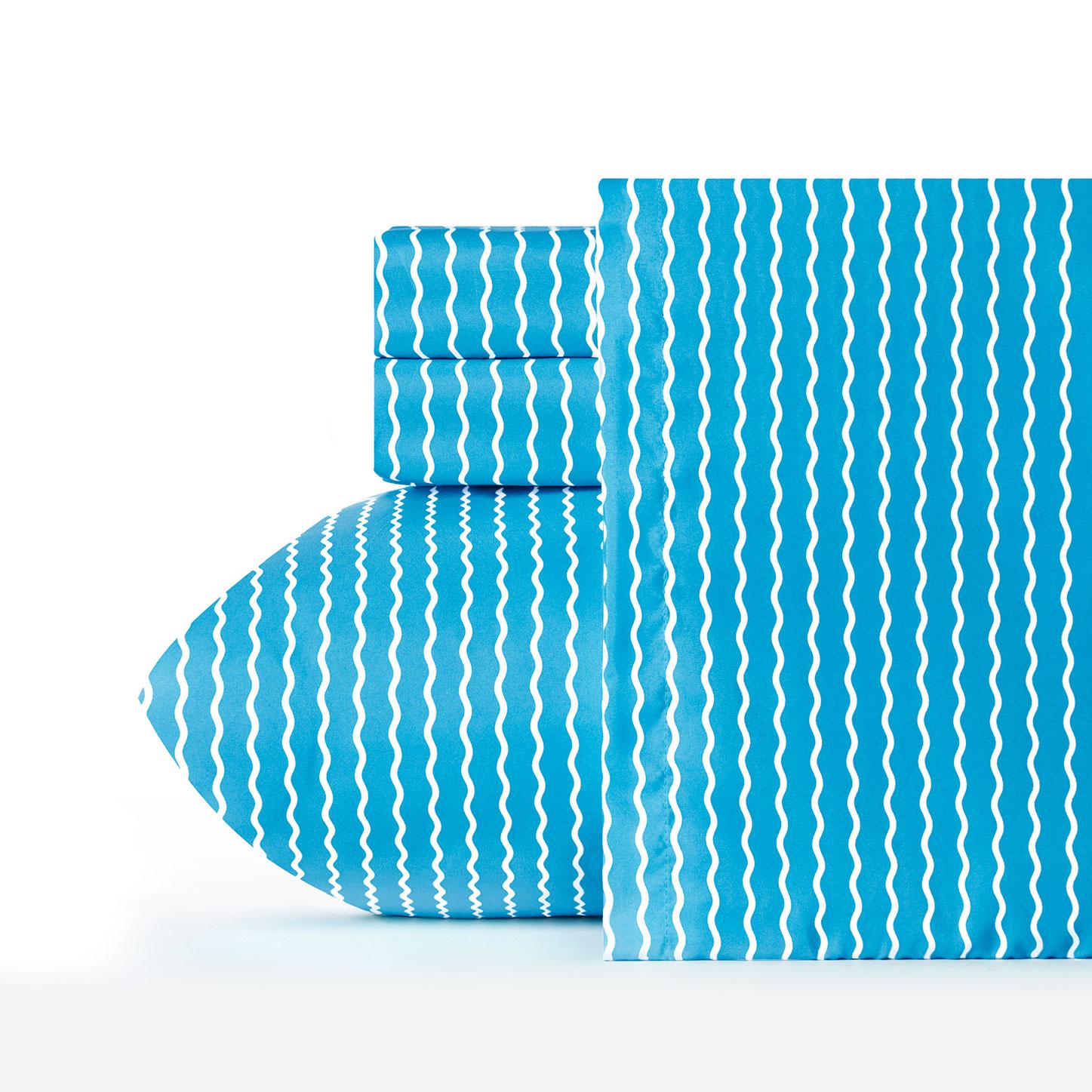 Serpentine Stripe Cerulean Sheet Set Siscovers